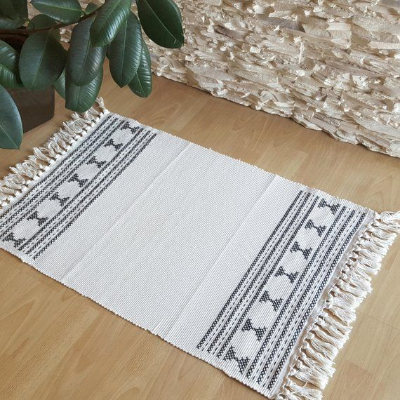 Boho Rug Small Area Rug Black And Cream Rug Tassels Rug