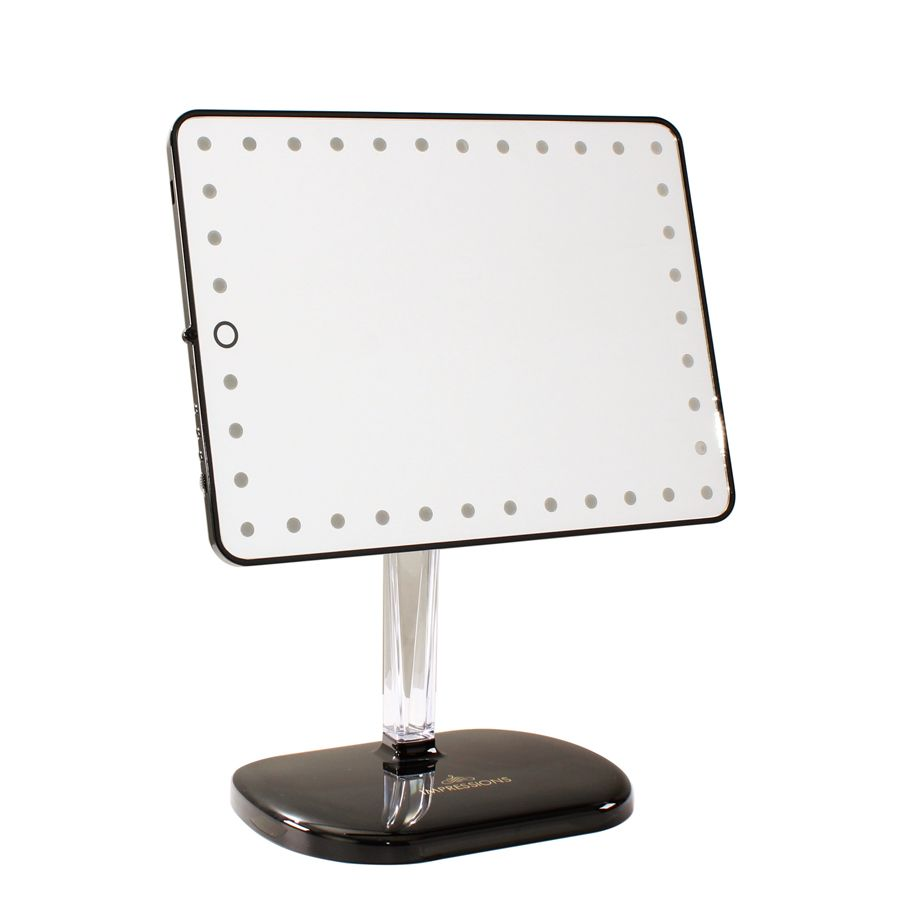 Touch Pro Black Makeup Mirror  129 with Bluetooth speaker and charging  station. Touch Pro LED Makeup Mirror with Bluetooth Audio Speakerphone