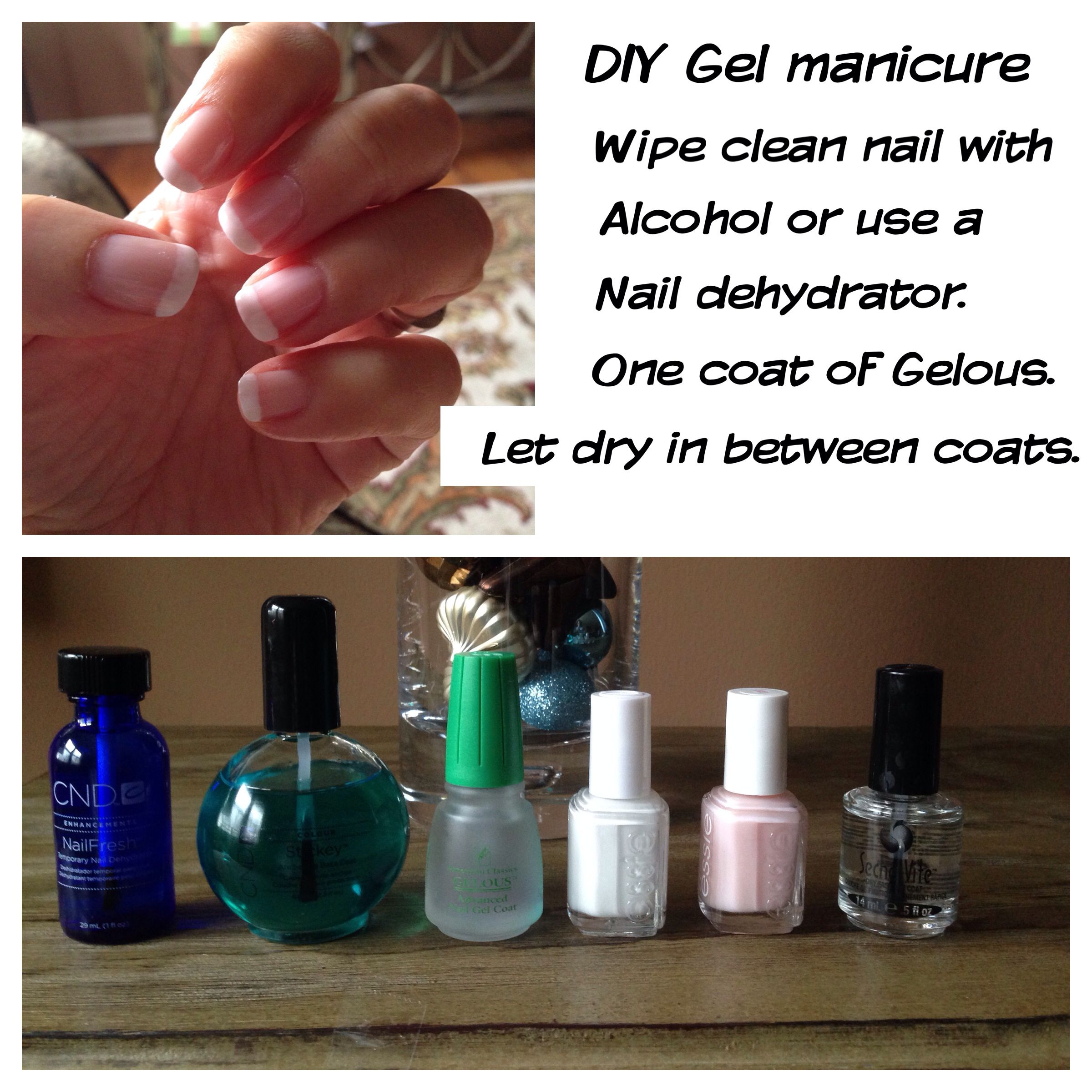 DIY Gel french manicure. Wipe nails with alcohol or use a dehydrator ...