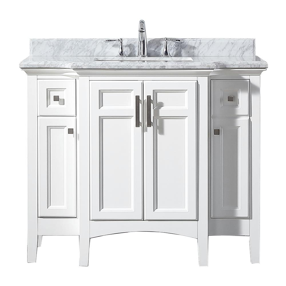 Home Decorators Collection Sassy 42 In W X 22 In D Vanity In White With Marble Vanity Top In White With White Sink Sassy 42 The Home Depot Marble Vanity Tops 42 inch vanity top