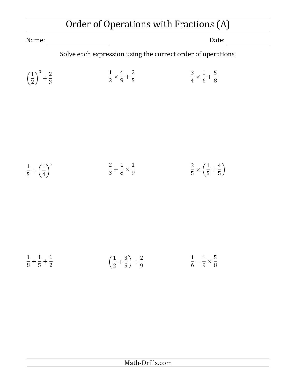 The Order Of Operations With Positive Fractions Two Steps