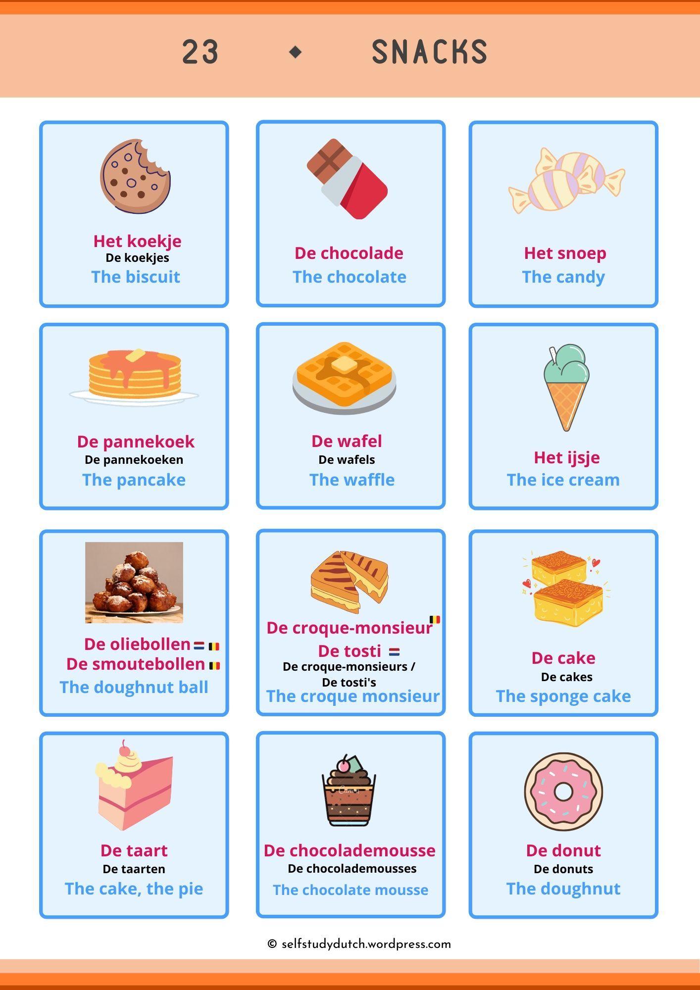 Dutch Vocabulary Snacks Learn Dutch Vocabulary Cards Vocabulary [ 2000 x 1414 Pixel ]