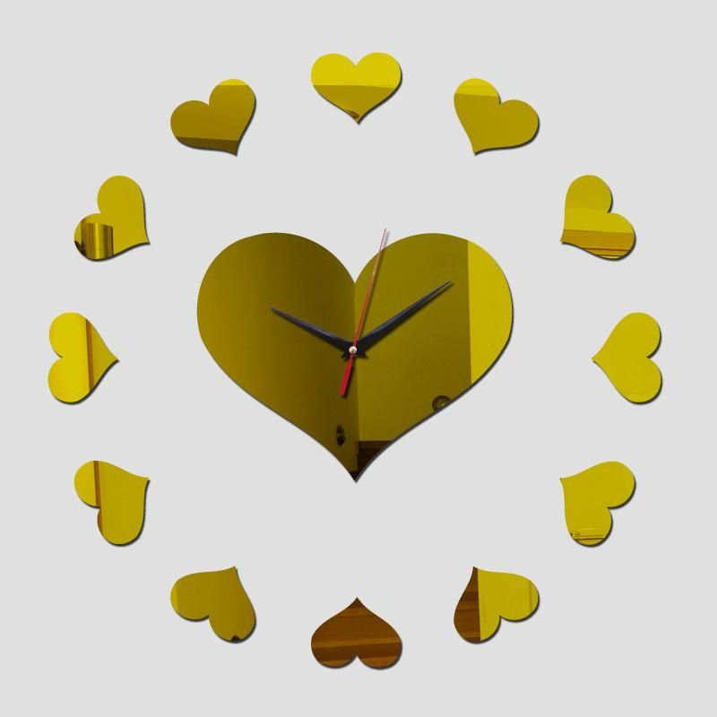 Acrylic Heart Sticker DIY Mirrored Wall Clock 3 Colors | Products ...