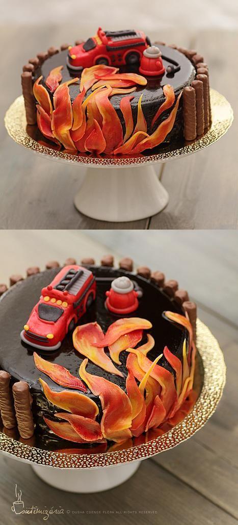 fire truck cake for krist f in 2019 firefighter. Black Bedroom Furniture Sets. Home Design Ideas