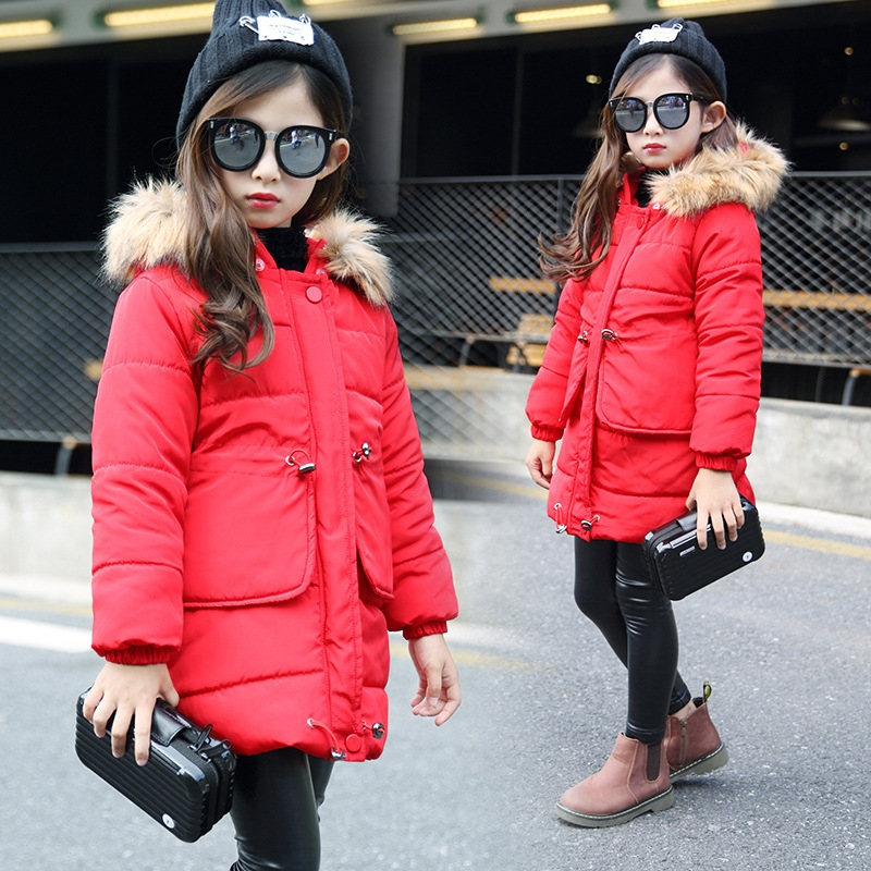 26.39$  Watch here - http://aliwbd.shopchina.info/1/go.php?t=32773476228 - Children's clothing cotton jackets winter 2017 new Korean cotton-padded jacket long thick Coats  6-11 Year   #magazineonlinebeautiful