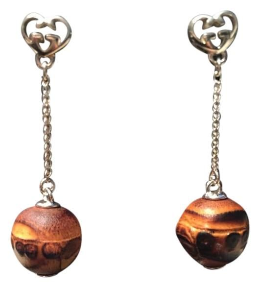 37f29f2d9a4 Gucci Sterling Silver Bamboo Earrings Drop Dangle GG Logo Heart ITALY.  Guaranteed authenticity on Gucci Sterling Silver Bamboo Earrings Drop  Dangle GG Logo ...