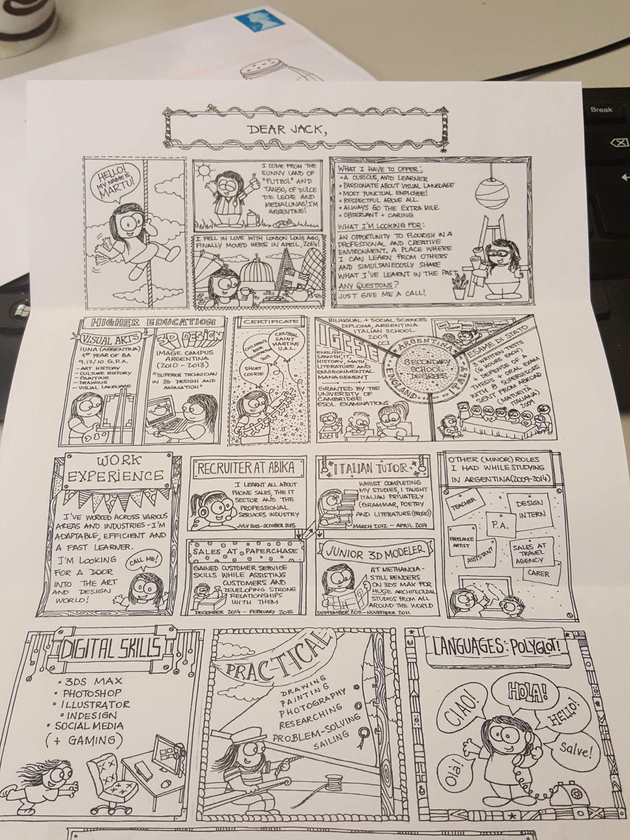 Brilliant hand drawn C.V. Now thats creative. LinkedIn | Your ...