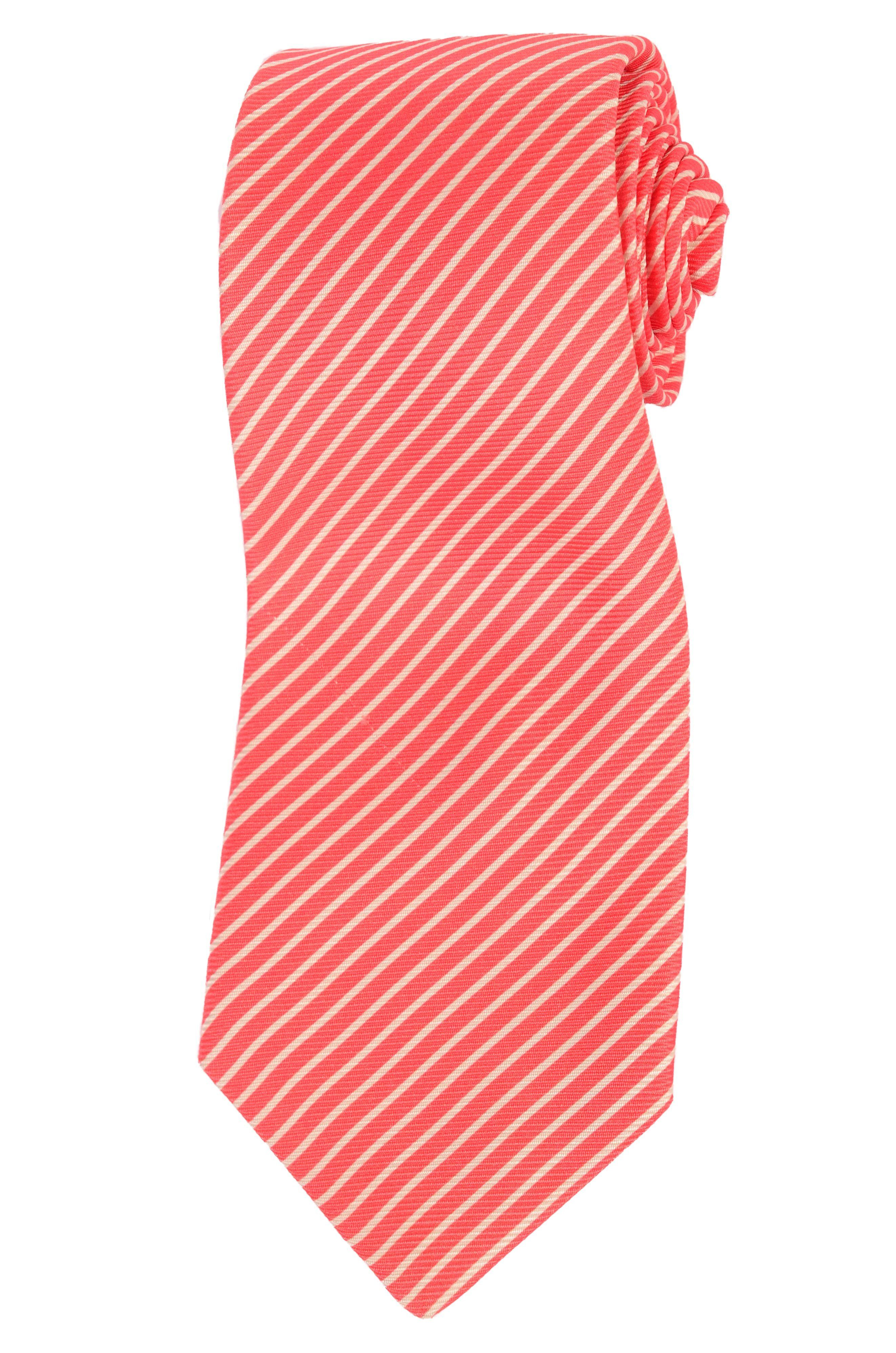 KITON Napoli Hand-Made Seven Fold Red-White Striped Silk Tie NEW