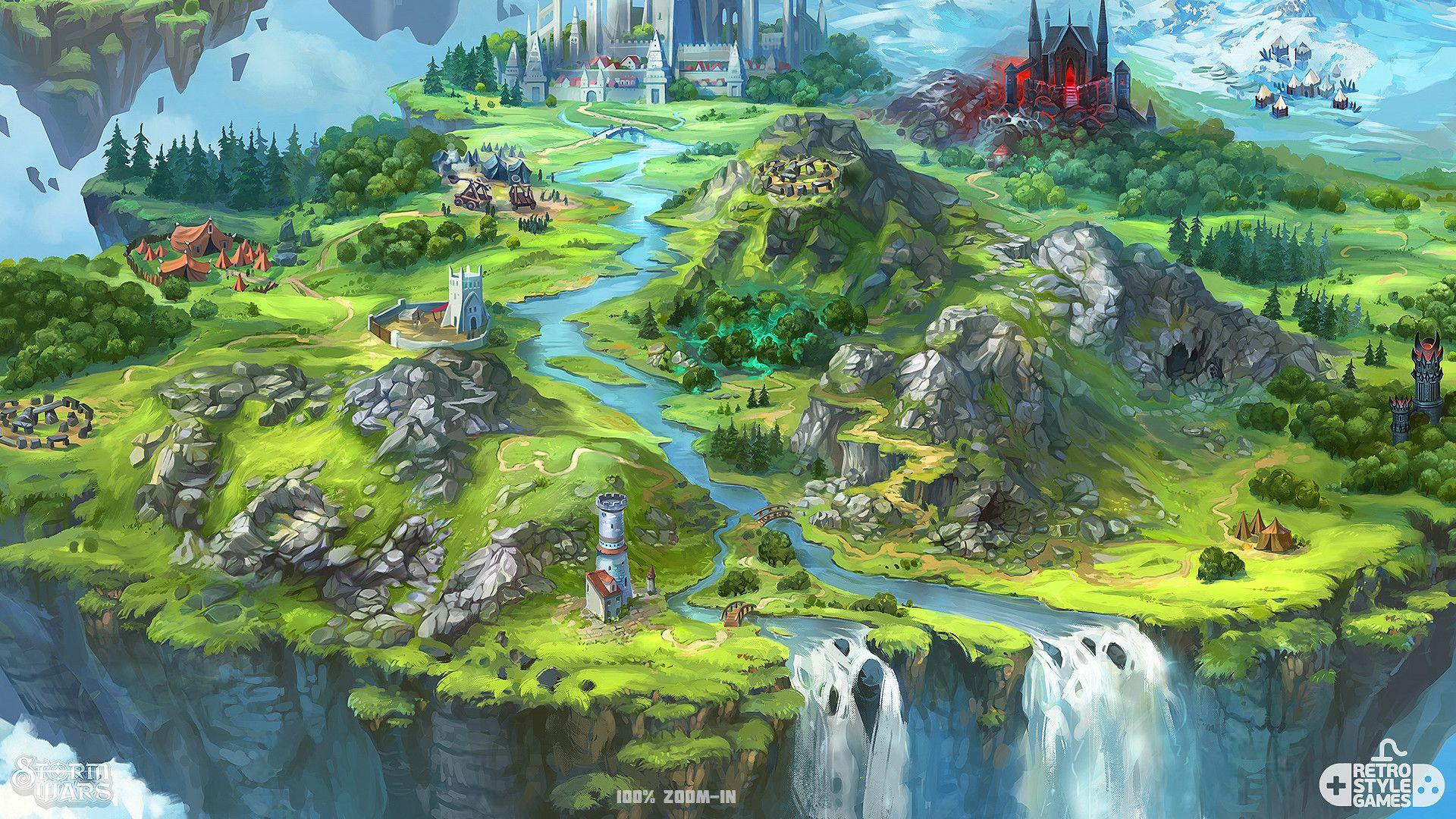 Artstation storm wars flying island map illustration