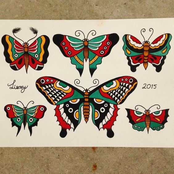 """Traditional Butterfly Tattoo Flash: """"Sailor Jerry Inspired Butterflies #tattooflash"""