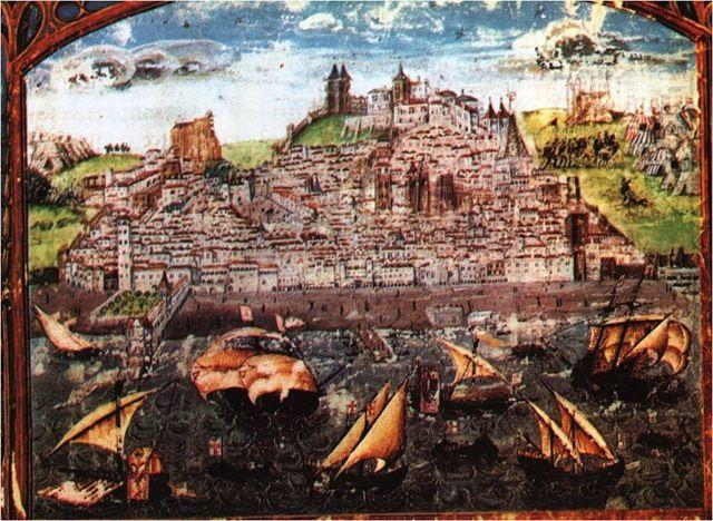 """Lisboa medieval. Duarte Galvão (c. 1520) – Iluminura da """"Crónica del Rey D. Afonso Henriques primeiro  rey destes regnos de Portugal"""""""
