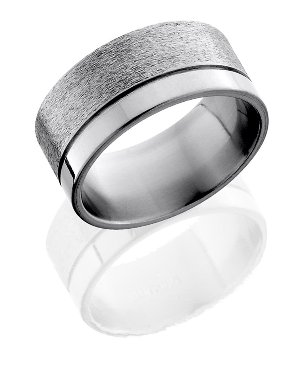 Weston Titanium Wedding Band With Off Center Groove By Lashbrook
