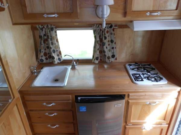 Stock kitchen | Vintage travel trailers | Camper interior ...