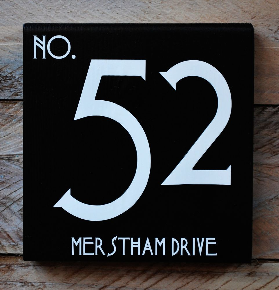 House number u street name wooden sign plaqueart deco font x