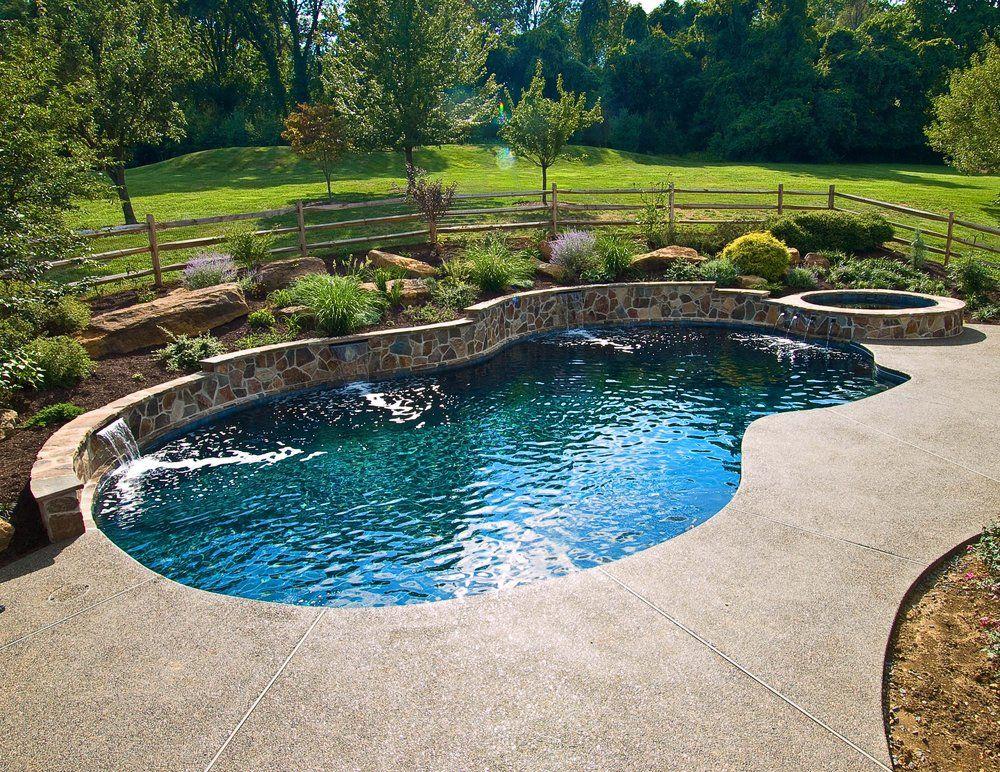 Ted S Pools Newtown Square Pa United States Beautiful Raised Stone Wall With Three Water Backyard Pool Landscaping Swimming Pools Backyard Backyard Pool