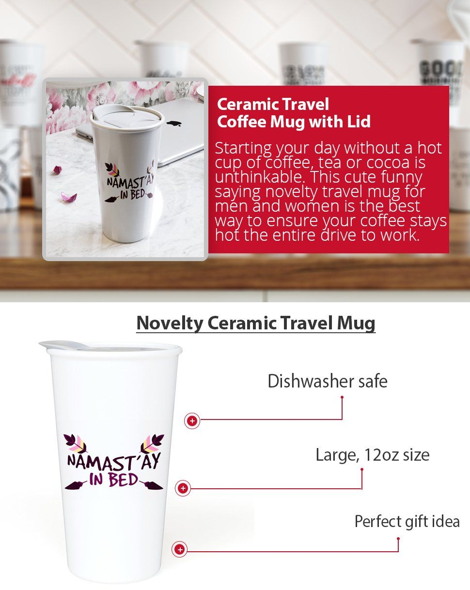 Ceramic Travel Coffee Mug With Lid 12 Oz I Birthdays Christmas And Holiday Gift Giving Are Easier When You Cho Ceramic Travel Coffee Mugs Mugs Coffee Travel