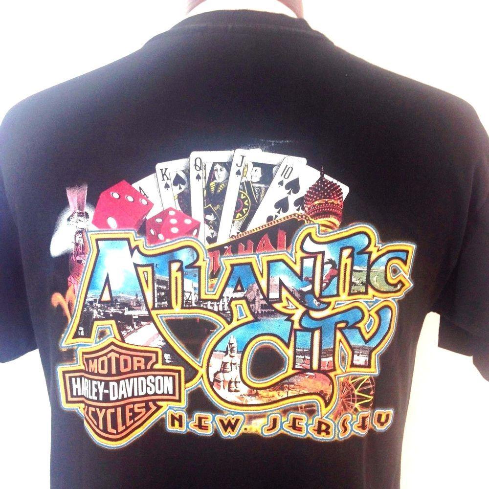 Harley Davidson Motorcycles T Shirt Atlantic City New Jersey Black