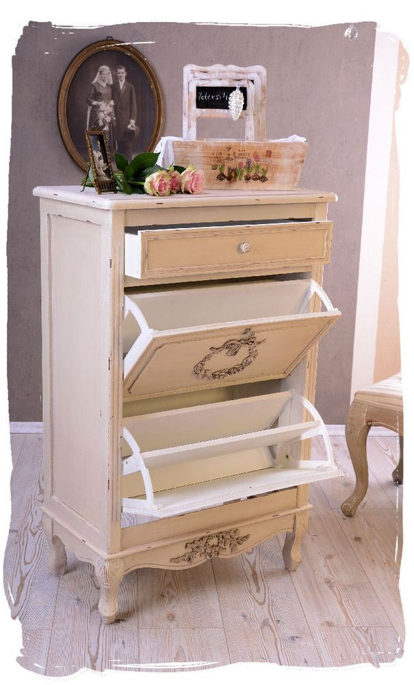shoe cabinet shabby chic racks country house style chest of drawers rh pinterest com shabby chic vintage shoe rack shabby chic metal shoe rack