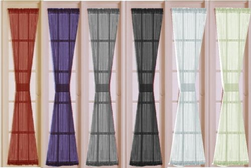 Sheer French Door Or Sidelight Curtain Panels In Black Red Plum Purple Silver White Or Ivory Curtains Sidelight Curtains Sheer Curtain Panels