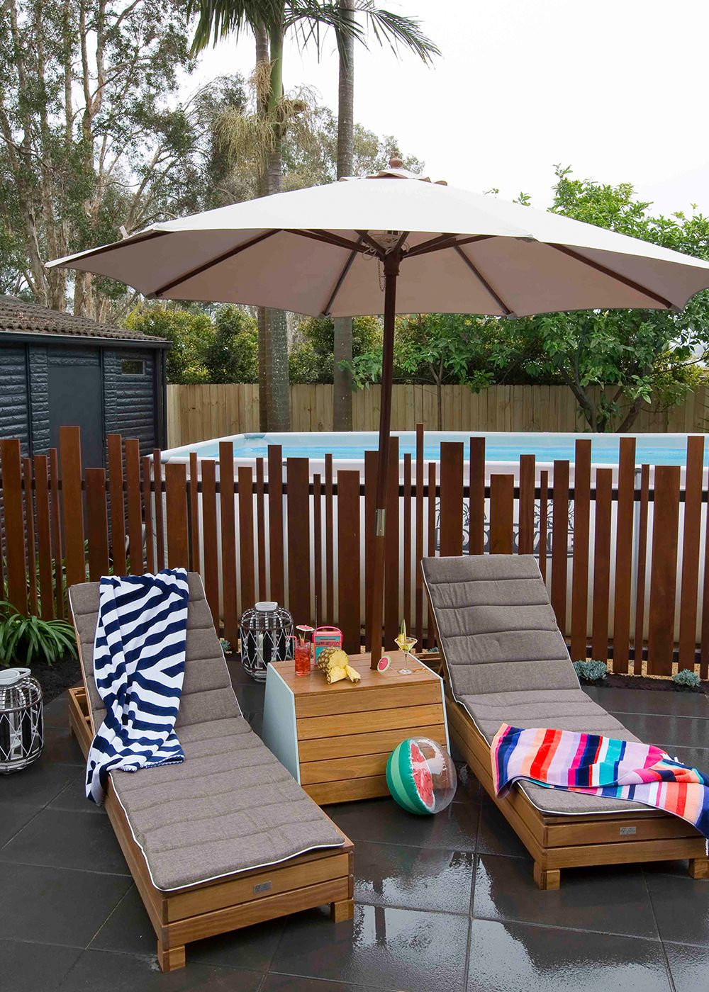 DIY umbrella stand... or a drinks table?