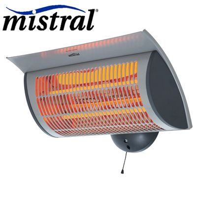 Mistral Wall Mountable Electric Outdoor Patio Heater 2 Heat Settings Splash Proof Plug An Outdoor Electric Heater Outdoor Heaters Outdoor Entertaining Area