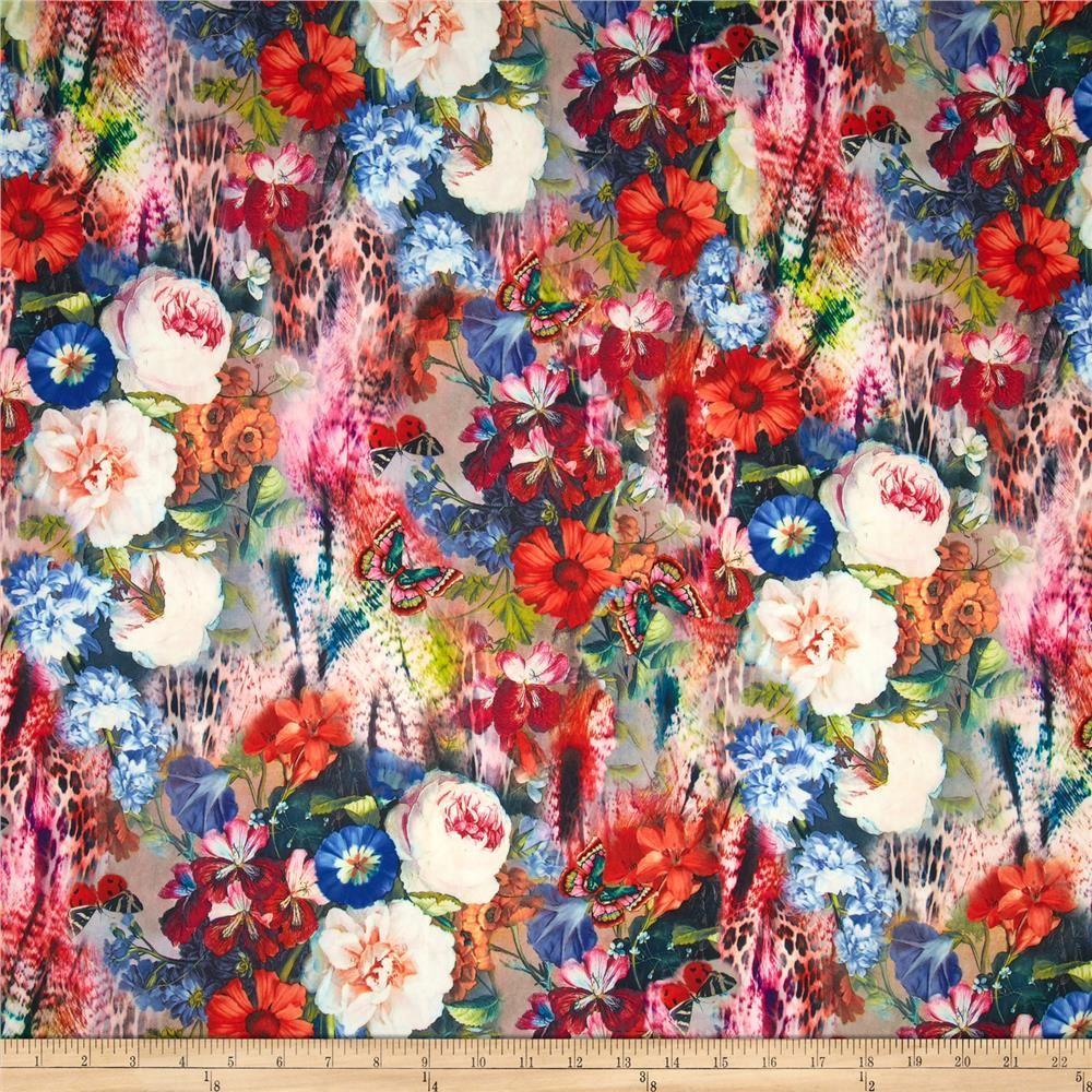 Telio Marni Scuba Knit Floral Print Cream Magenta Orange Black