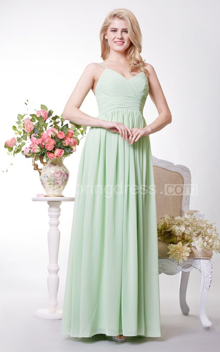 Simple spaghetti strap aline long chiffon dress bridesmaid outfit