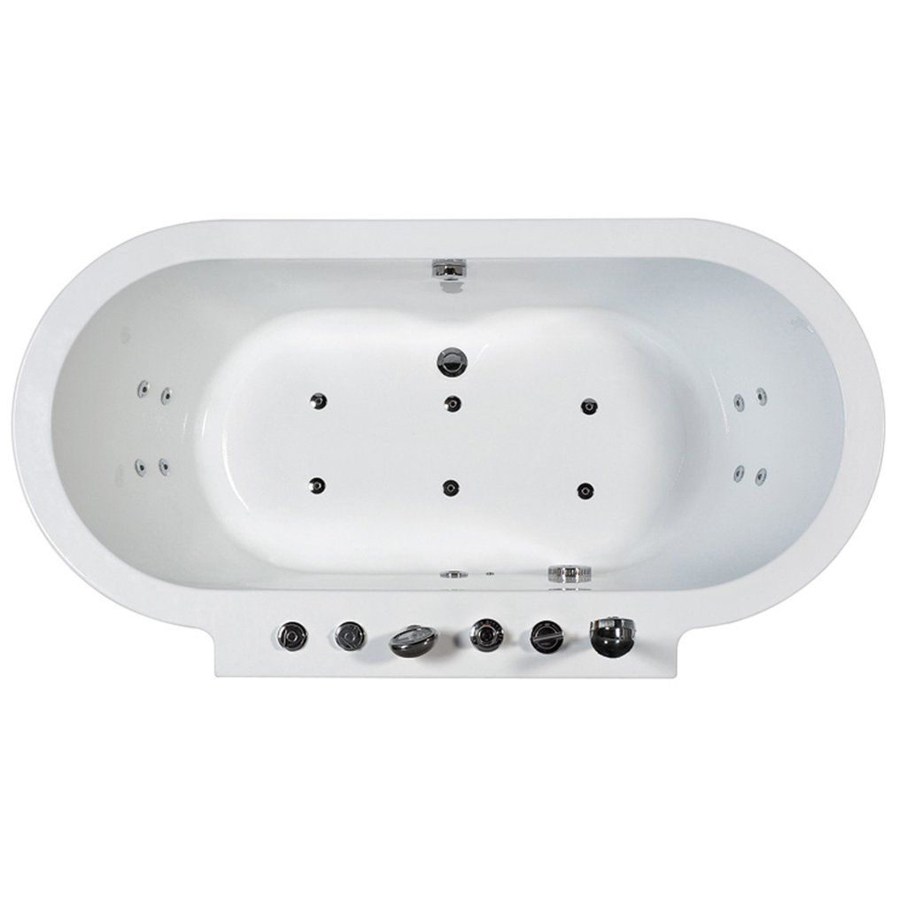 ARIEL Freestanding Whirlpool Bathtub - Platinum AM128 – BathVault ...