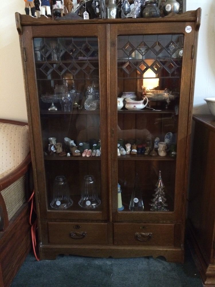 Brown Antique Furniture | eBay - Antique China Cabinet With Glass Doors & 2 Drawers NO SHIPPING