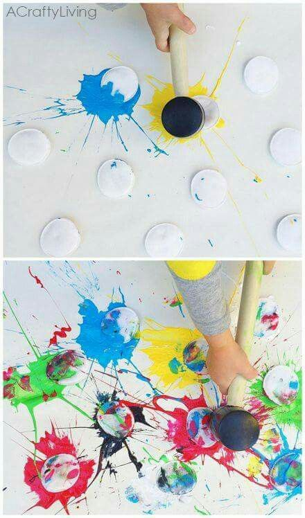 Cotton Rounds And A Rubber Mallet Paint Splat Art Activity For Kids Perfect Toddlers Or Any Age