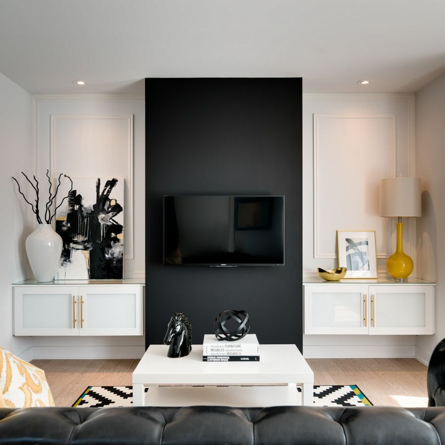 This Taipei Apartment Is Deliciously Dramatic Feature Wall Living Room Accent Walls In Living Room Black And White Living Room