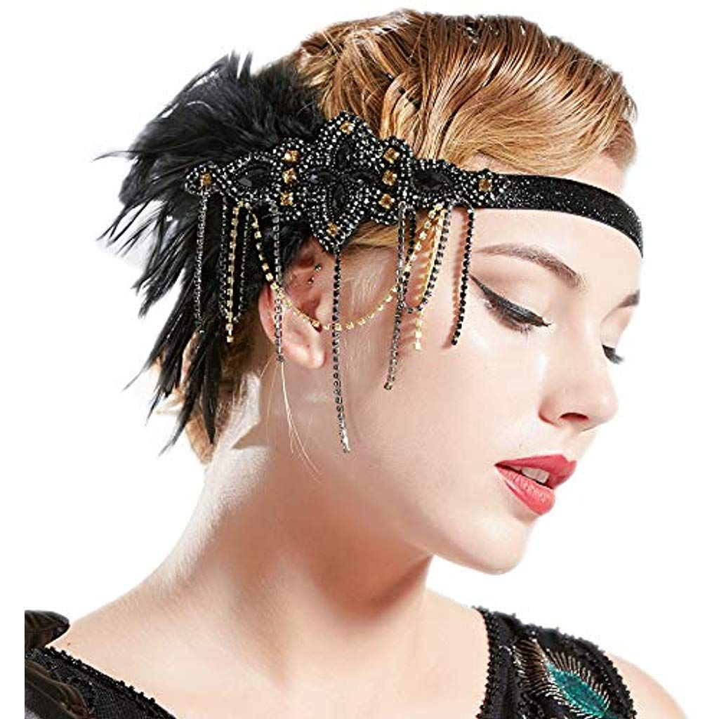 Coucoland Feather Fascinator 1920s Fascinator Gatsby Feather Headband Bridal Headpiece 1920s Flapper Accessories Derby Headpiece for Cocktail