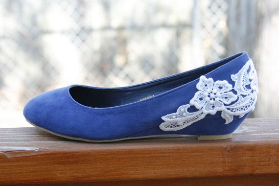 Superb Blue Ballet Flat/low Wedge Heel With Venise Lace By Walkinonair, $53.00