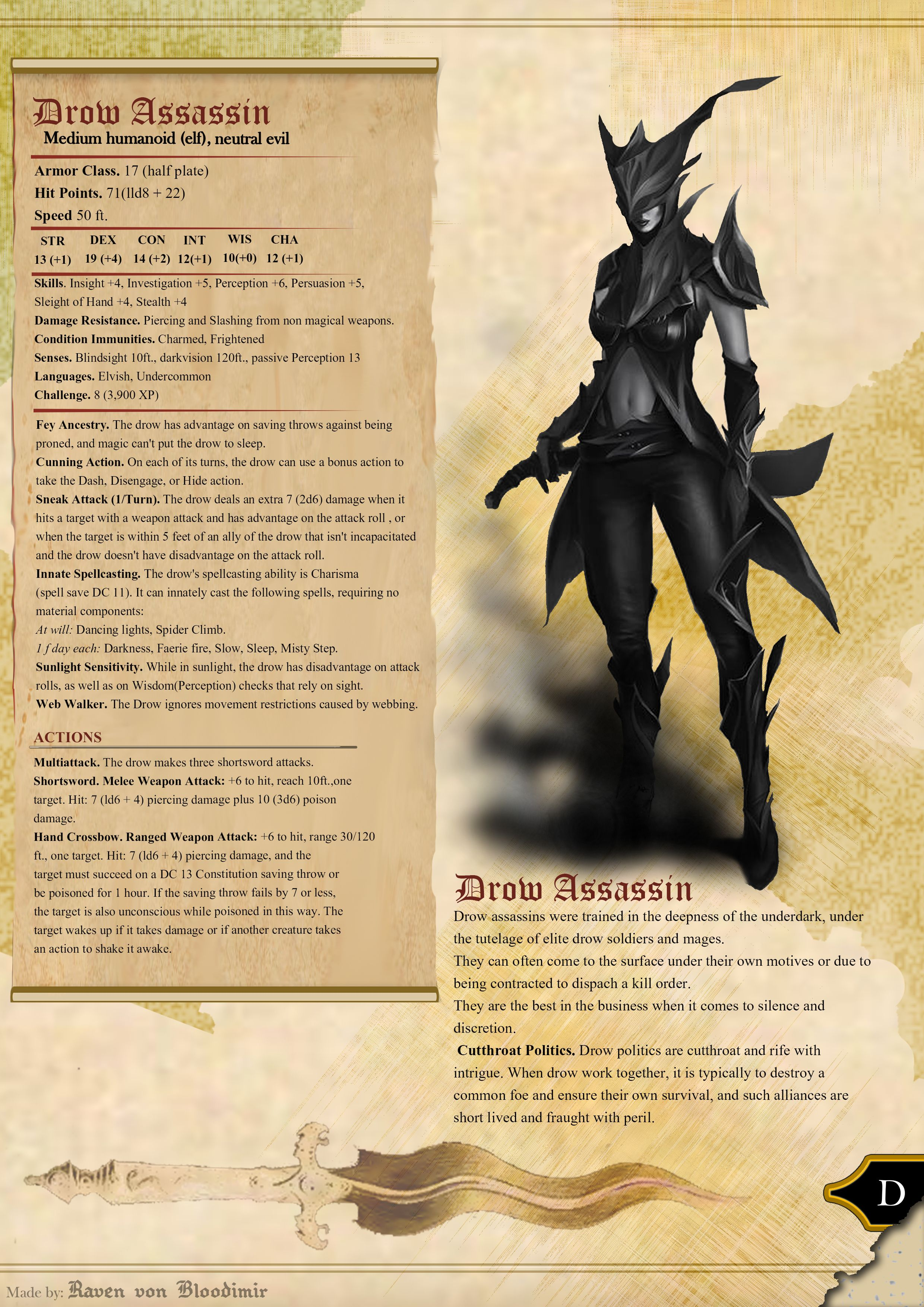 Drow Assassin Dnd 5e By Ravenvonbloodimir Dnd Monsters Dnd Dragons D D Dungeons And Dragons