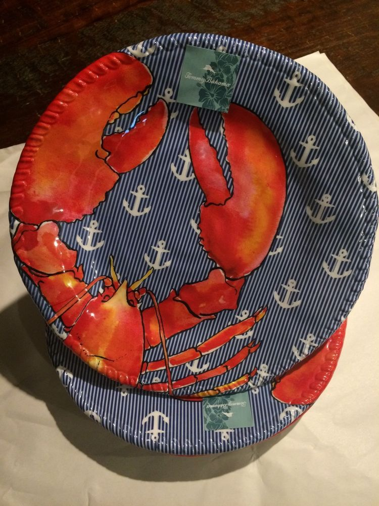 Tommy Bahama 100% Melamine 11  Crab And Anchor Dinner Plates Set of Four #TOMMYBAHAMA & Tommy Bahama 100% Melamine 11