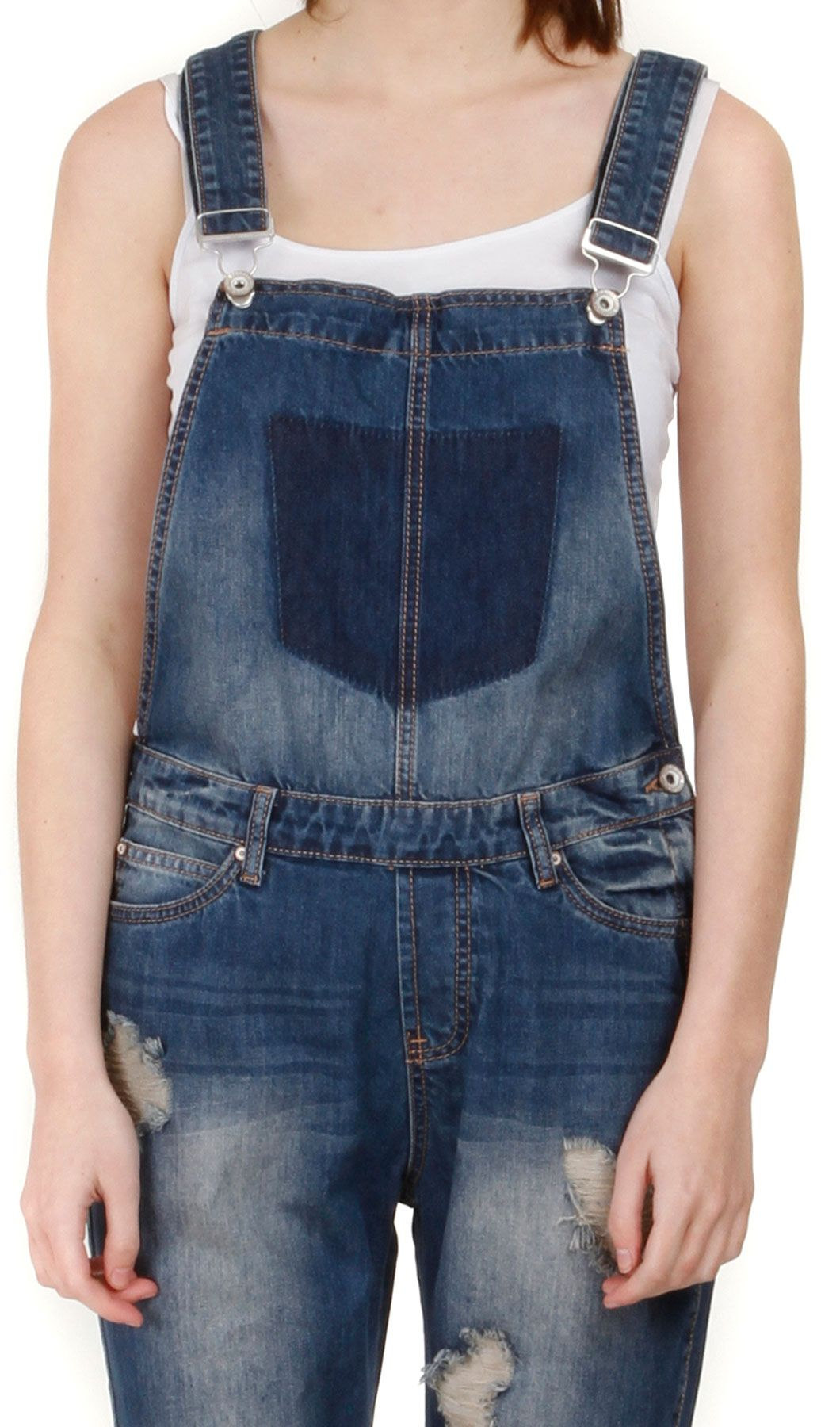 942f9829e Women's Destroyed Denim #Dungarees. Midwash Three-quarter length distressed  denim #Overalls