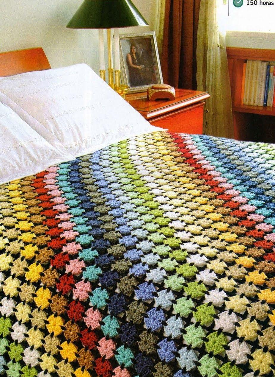 Manta con 1008 motivos unidos - Patrones Crochet   Ganchillo estilo ...