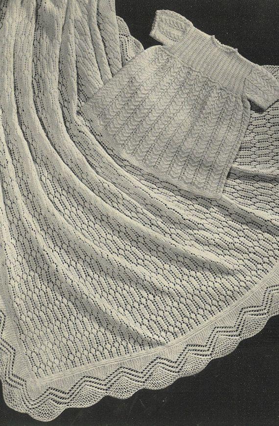 Natalie baby dress and shawl vintage baby knitting by Ellisadine ...