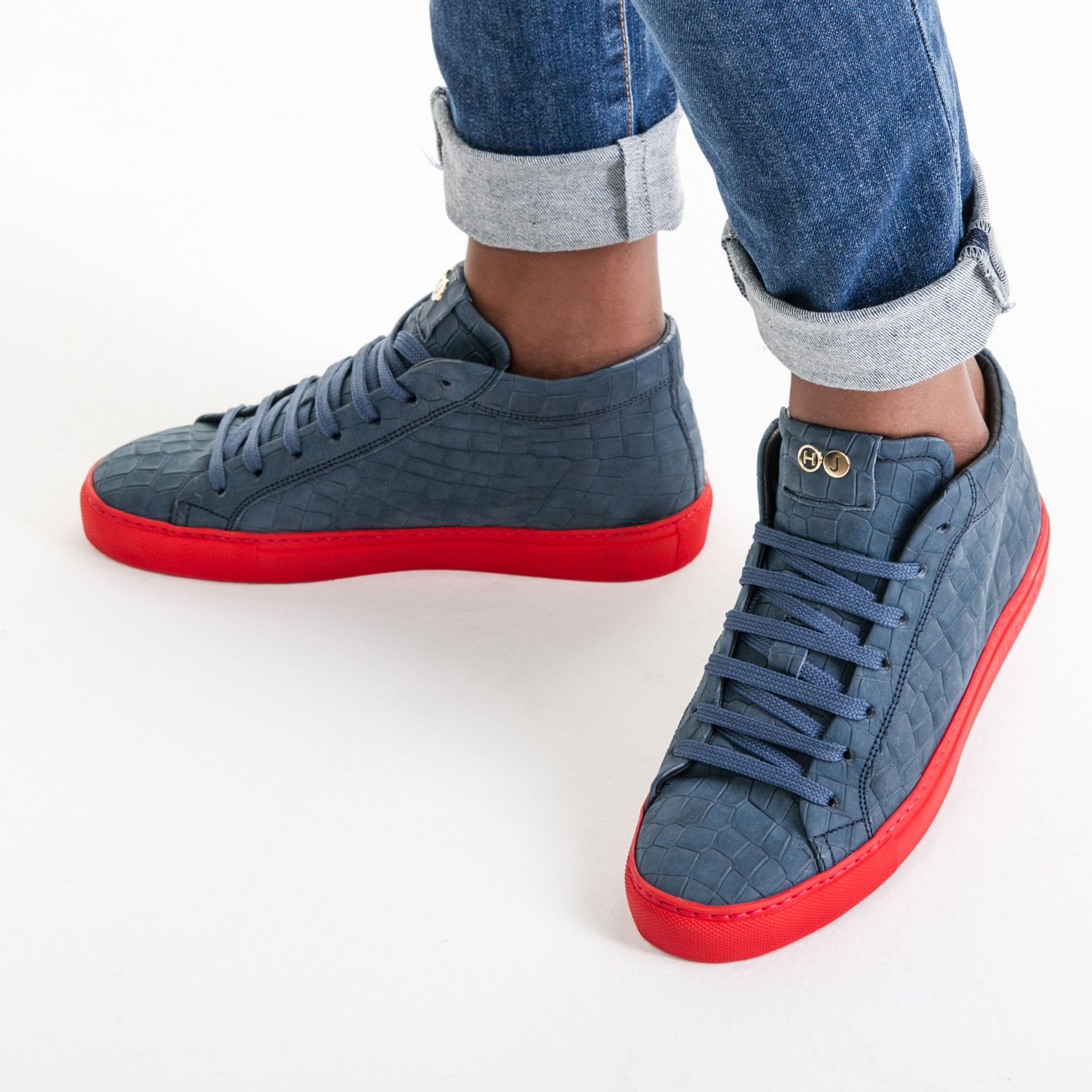 High top sneakers blue croco with red sole 65d868a1224