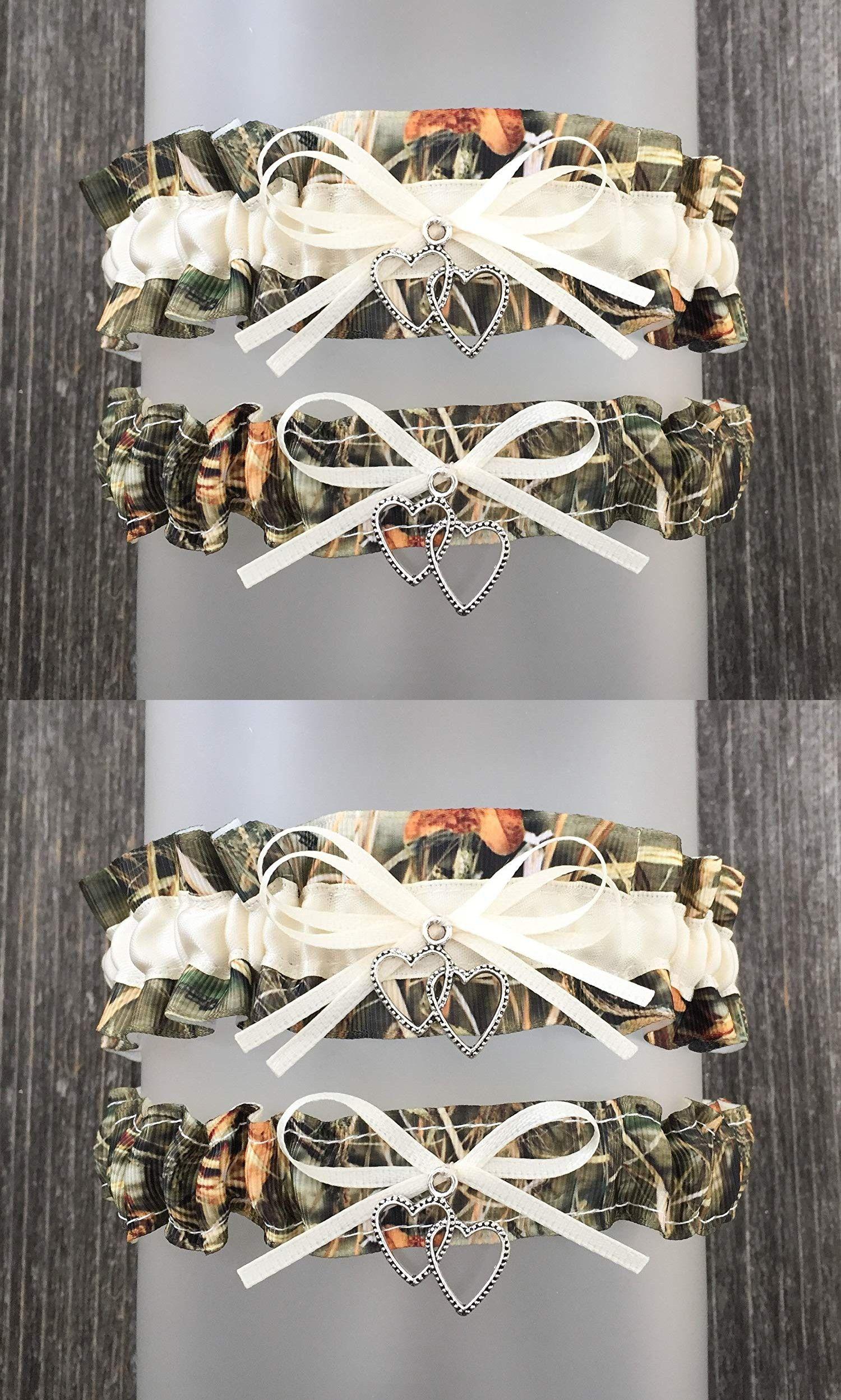 Camouflage Ivory Satin Wedding Camo Bridal Garter Set Double