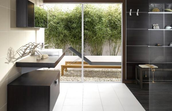 Salle de bain design zen - Salle de bain design zen de chez Schmidt - devis carrelage salle de bain