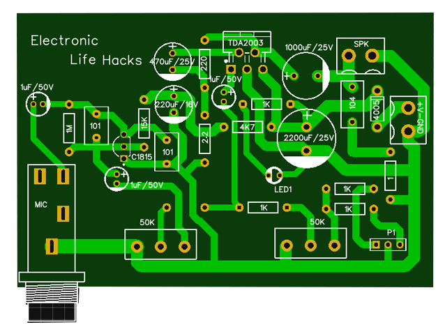 Tda2003 Circuit Amplifier And Mic Electronic Circuit Projects Amplifier Circuit