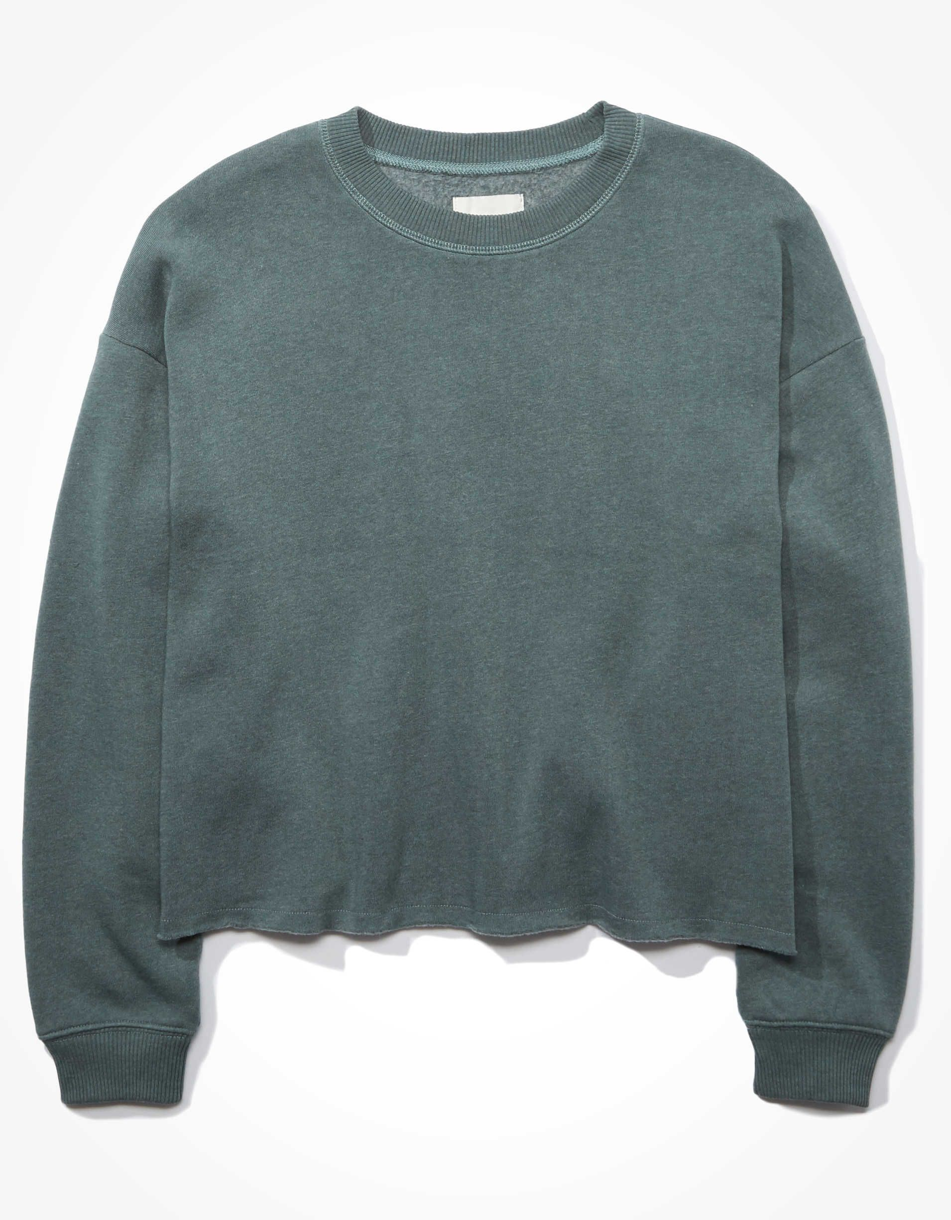 Ae Forever Cutoff Crew Neck Sweatshirt Crew Neck Sweaters Women Sweatshirts Crew Neck Sweatshirt [ 2449 x 1910 Pixel ]