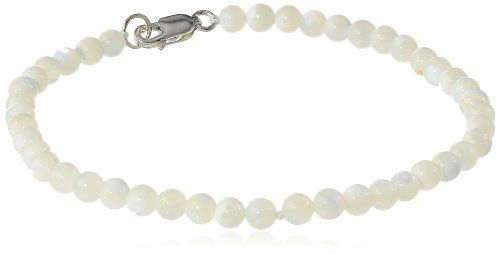 """Sterling Silver 4mm White Mother-of-Pearl Bracelet, 7.5"""" $25.00 (10% OFF)"""