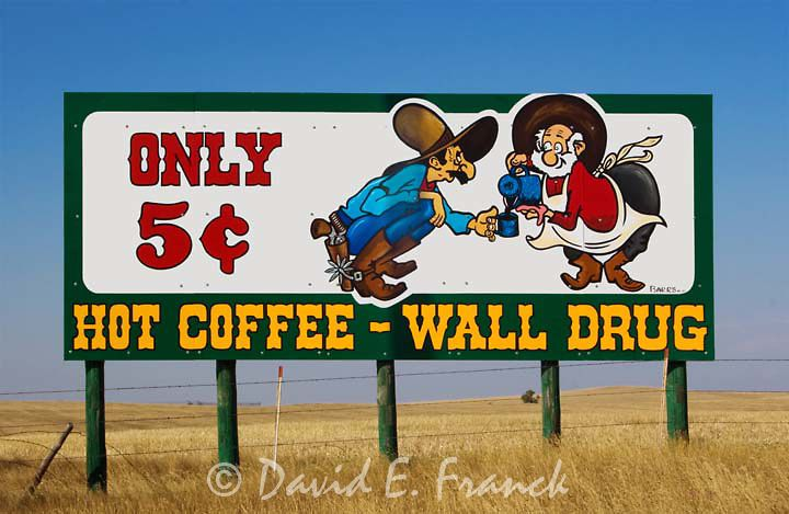 wall drug sign advertising five cent coffee near wall on wall drug id=17761