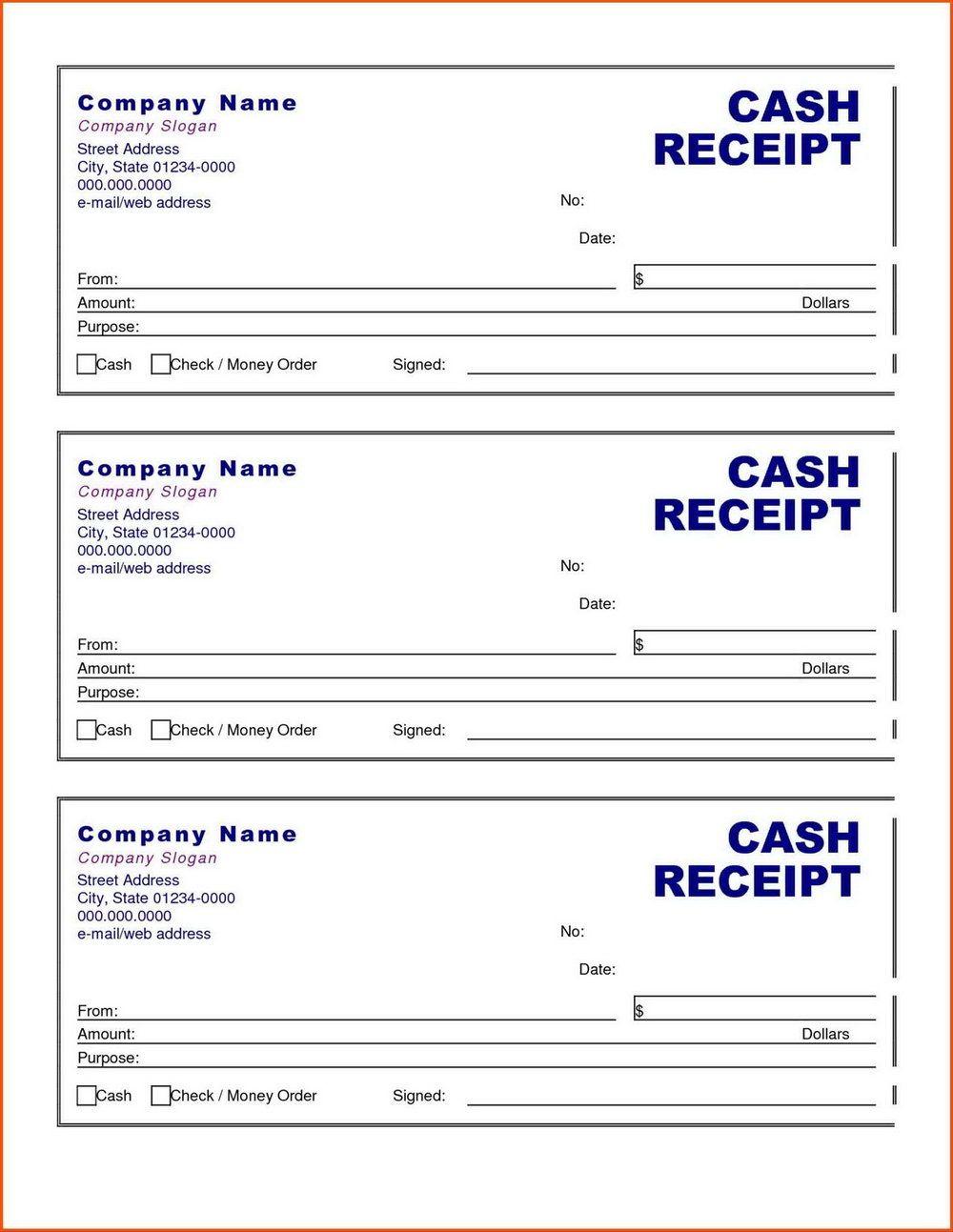 Printable Cash Receipt Template Receipt Template Free Receipt Template Word Template