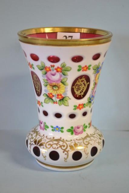Bohemian Overlay Glass Vase Malovan Sklo Pinterest Overlay
