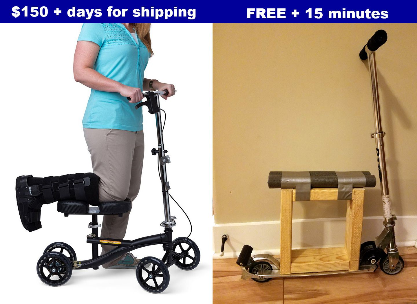Impromptu Knee Walker From Common Items Handmade Crafts Howto