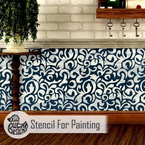 Furniture Wall Floor Stencil for Painting SAKARYA Damask Stencil