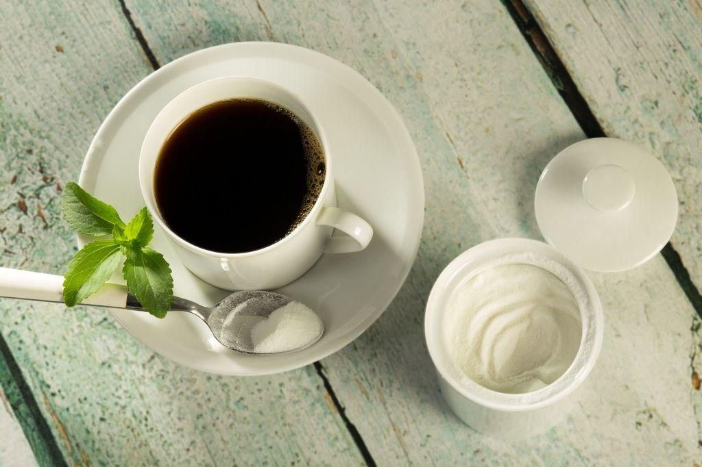 Cup of coffee stevia powder with images stevia